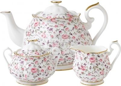Set 3 Piese Ceai Royal Albert Rose Confetti#accesoriiceai #accesoriiceaiportelan #portelanenglezesc #ceainic #cadouridelux #cadourispeciale #cadourifemei
