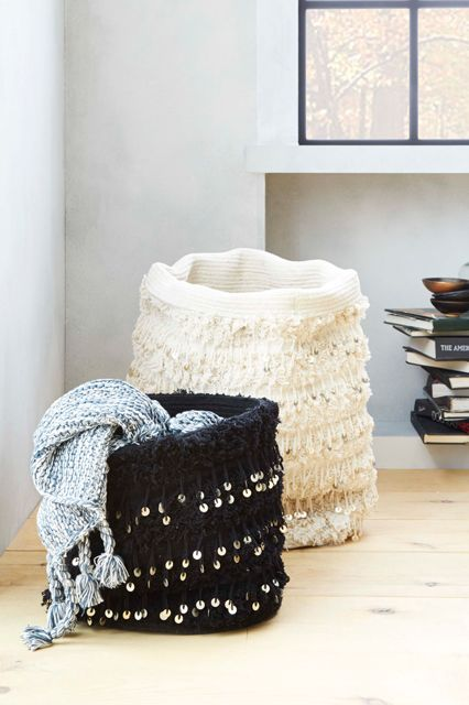 Style Your Place Like A Home Catalog — All The Tricks #refinery29  http://www.refinery29.com/2014/07/70895/west-elm-fall-2014-collection#slide8  Stash your throw blankets in a Moroccan-inspired basket.