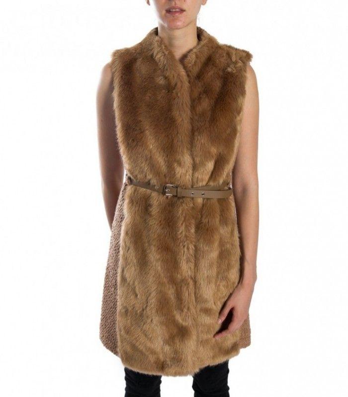 PATRIZIA PEPE Flannel Beige faux fur maxi-waistcoat 2l0770 a2wn