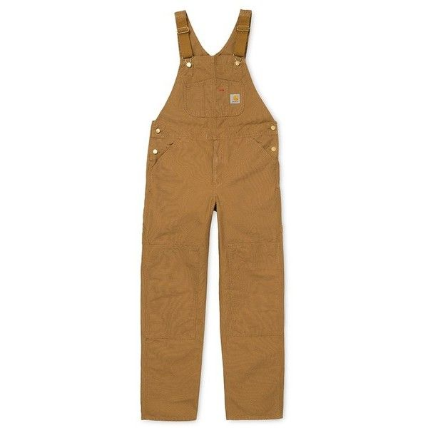 Bib Overall ($215) ❤ liked on Polyvore featuring jumpsuits, bib overalls, brown overalls, brown jumpsuit, brown bib overalls and overalls jumpsuit