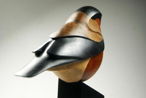 Decorative Bird Figurine Bullfinch Wooden Bird Elegant Bird