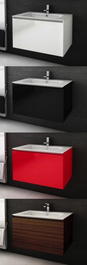 """Vanités de salle de bain <Série Cube> 48"""" avec lavabo intégré - AQUA MOBILIA. Disponible chez Montréal - Les - Bains"""
