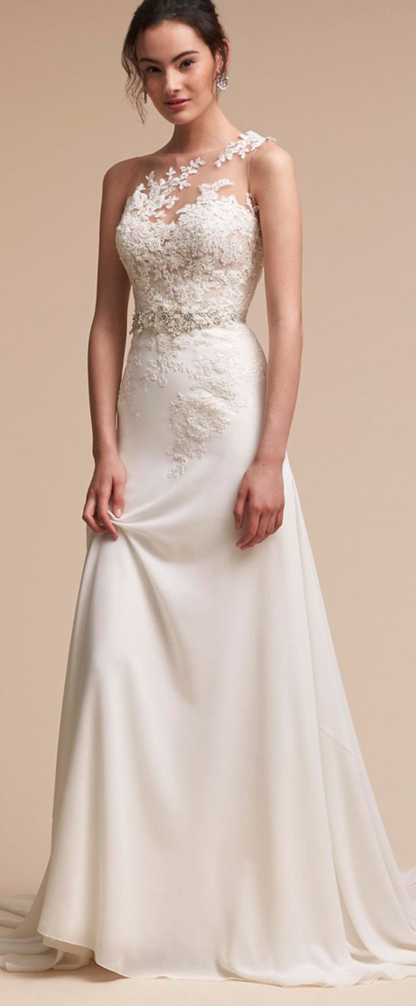 Fantastic Tulle & Chiffon Jewel Neckline Sheath/Column Wedding Dress With Beaded Lace Appliques & Handmade Flowers