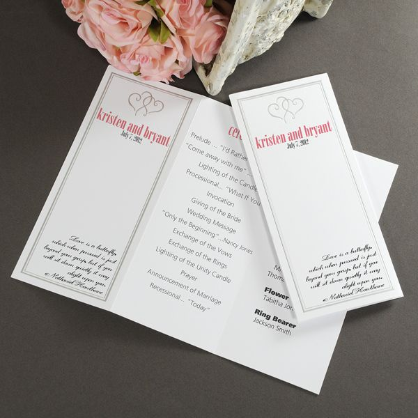 25 best paper products holders images on pinterest invites diy give the details of your ceremony with these plat hearts tri fold programs the embossed hearts on the programs will add a nice touch to your ceremony solutioingenieria Choice Image