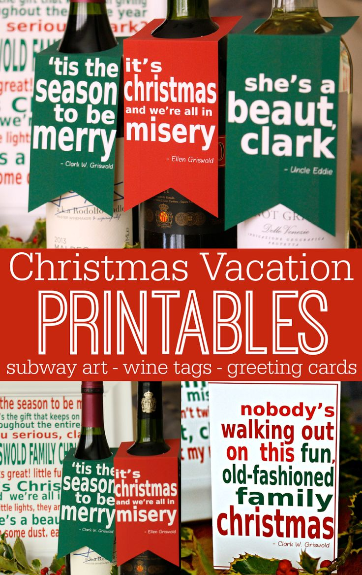 National Lampoons Christmas Vacation movie printable quotes - festive subway art, wine tags, and greeting cards