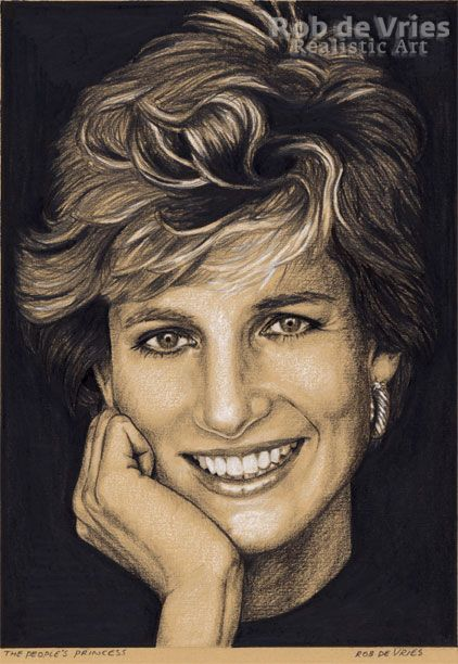 """December 2017, Princess Diana, """"The People's Princess"""", Charcoal, Ink and white chalk on coloured paper. 21 x 15 cm. www.robdevries.com"""