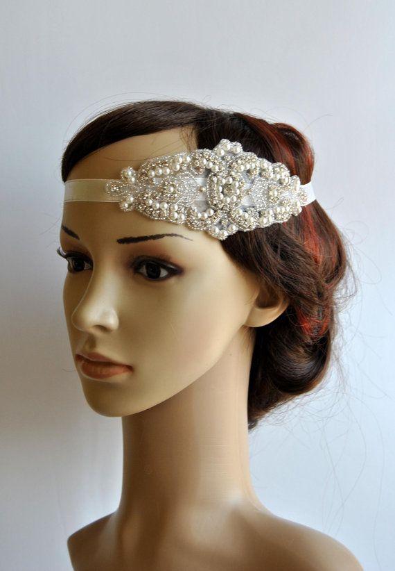 Pearl Rhinestone flapper Gatsby Headband, Wedding Headband, Crystal Headband  Headpiece, Halo Bridal Headpiece, 1920s Flapper headband