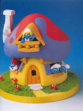 Smurfs Cake I'm gonna try and make this for zoey's birthday.