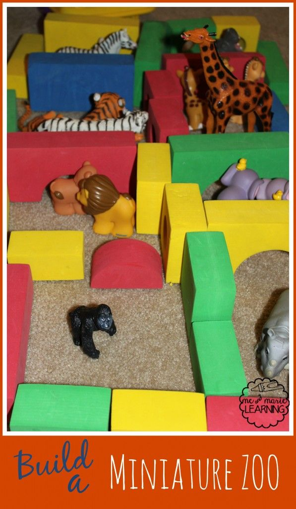 Love building activities from things you already have! Create a zoo with blocks and animals! A great activity for a zoo unit!