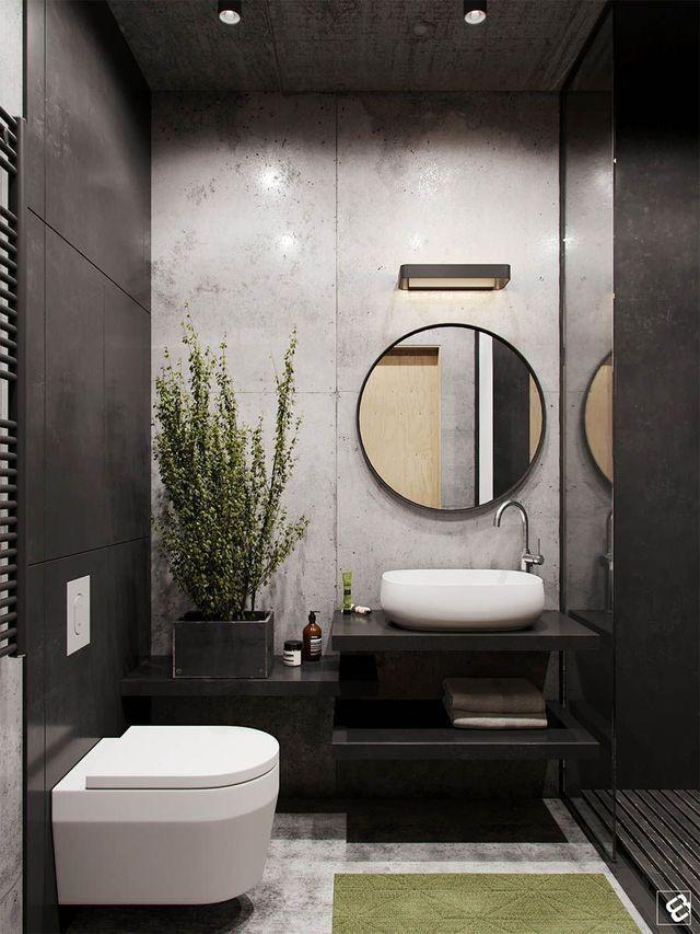 Small bathrooms contrast stark walks with verde