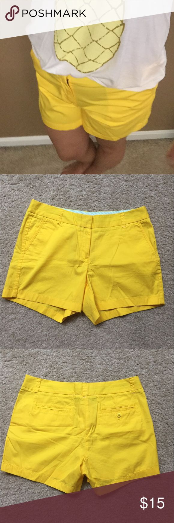 JCrew Chino Shorts - yellow Like New Condition! These shorts are perfect summer shirts that can be worn casually or dressed up for evening activities. The color is bright, but not too over the top. The inseam is longer to ensure full coverage. I love wearing these with wedges a netural shirt and statement necklace. They will compliment any pair of sun kissed legs! J. Crew Factory Shorts