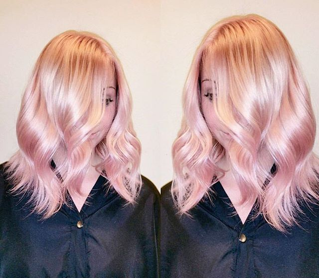 """@hairlikeaboss created this glossy rose gold...and we can't get enough! He explains how he incorporated Olaplex into his process- """"Roots were lifted with 20vol 8-29 Igora Metalics and 2 inches of Flamingo Pink ion melted mid-shaft ending with Blondme Up to 9 lightener with 20vol and Olaplex ,processed for 30minutes then rinsed and applied Igora Pastel 9,5-89 and Joico soft pink from roots to end for 30 minutes, followed by Olaplex #2."""" #rosegold #hair #healthyhair #blonde #olaplex"""