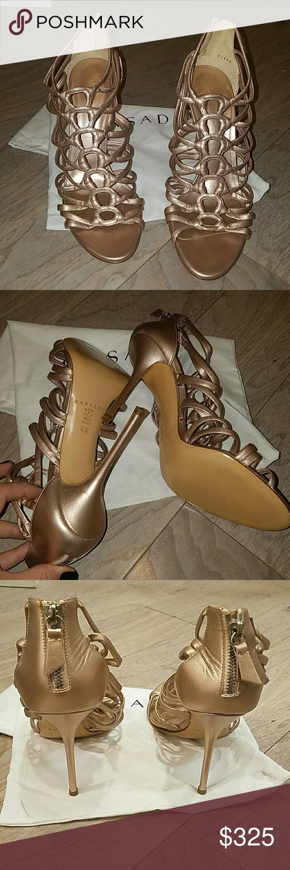 Casadei rose gold high heel sandal Rose gold strappy high heel sandal. Never been worn. Includes dust bag. Casadei Shoes Heels
