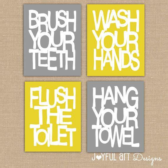 Image Of Kids Bathroom Wall Art Bathroom Rules PRINTABLES Brush Wash Flush Hang Prints Bathroom Signs Decor Set of x DIGITAL files