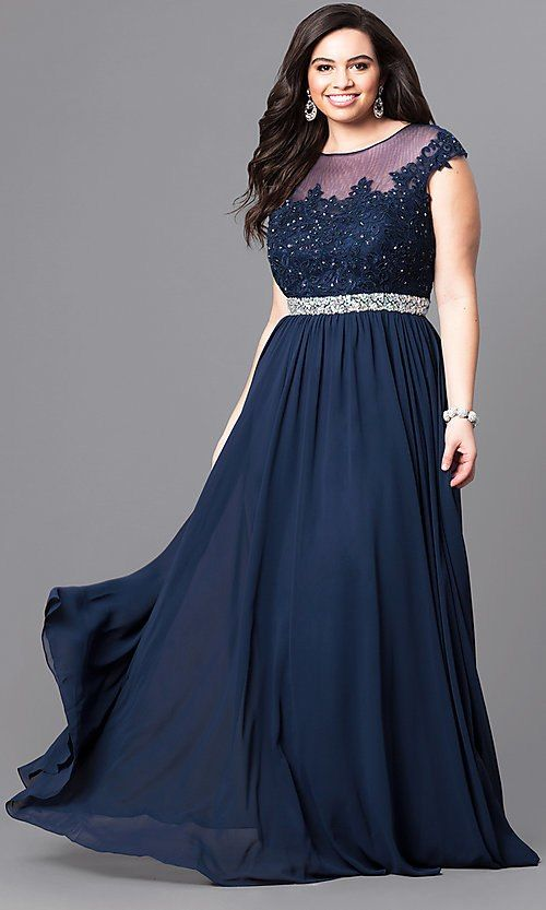 Image Of Long Plus Size Formal Dress With Illusion Lace Bodice
