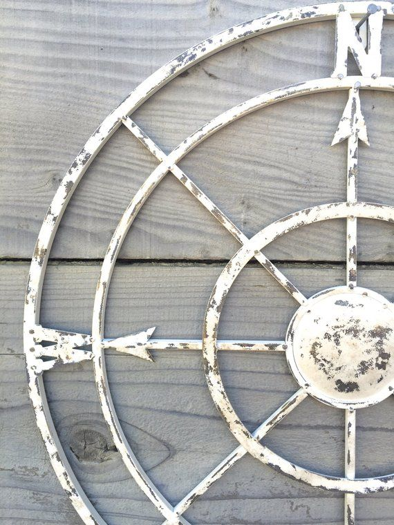 Shabby Chic Nautical Decor: Nautical Compass, White Wall Art, Shabby Chic Nautical