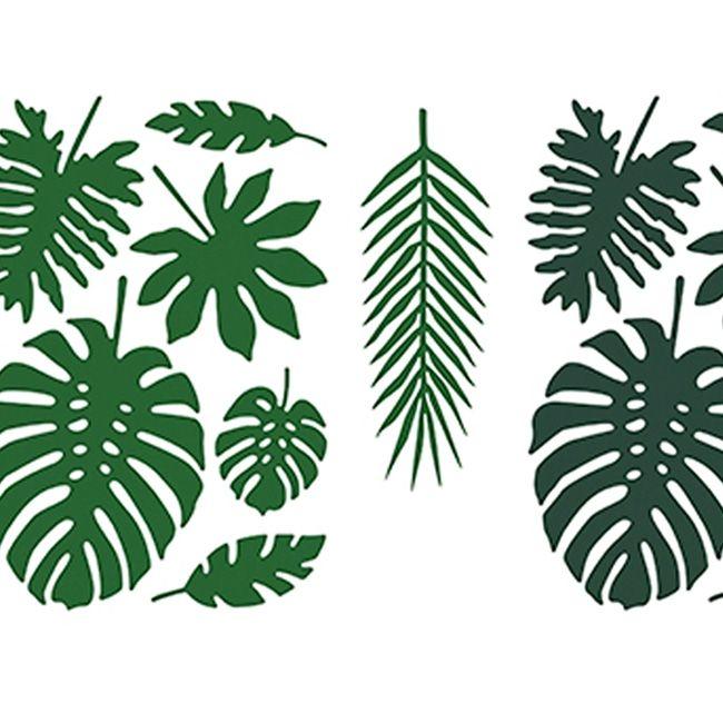 """WOW - was für eine bezaubernde Dekoration. Das Set """" Tropische Blätter """" verwandelt Ihre Party oder Hochzeitsfeier in ein traumhaftes Ambiente. Das große Dekorationsset besteht aus 21 tropischen Blättern in verschiedenen Varianten. Die..."""