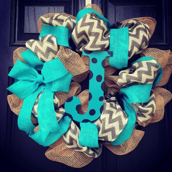 Burlap wreath with turquoise ribbon/bow and grey  white chevron mixed in with polka dot center letter