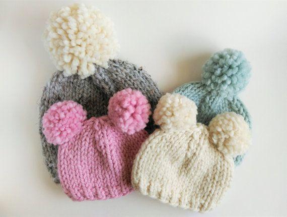 Knitting Pattern // Chunky Pom Pom Hat // Chunky Knit Hat Pattern // Beanie…