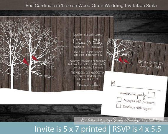 rustic winter wedding invitation set oak tree country wedding christmas wedding barn wood red