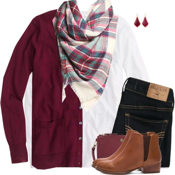 J.Crew cardigan sweater with plaid scarf & boots by steffiestaffie on Polyvore featuring J.Crew, Hollister Co., Seychelles, Tory Burch and Kendra Scott