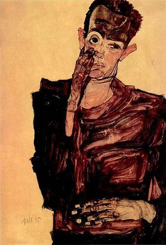Egon Schiele - Self Portrait with Hand to Cheek, 1910