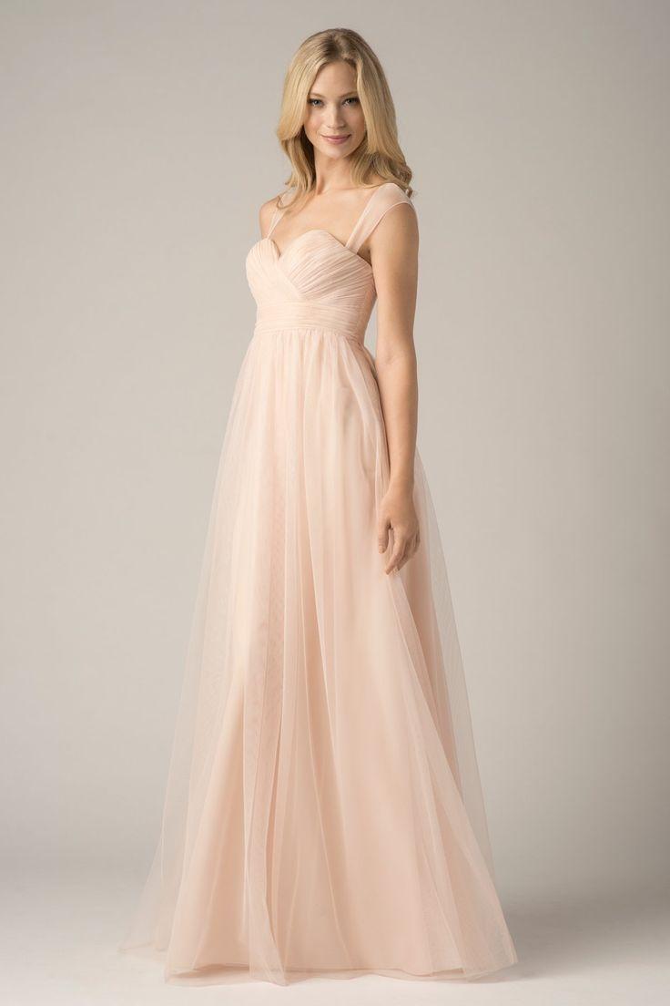 Wishesbridal Pink Tulle Straps Floor Length Princess #Maternity #BridesmaidDress B1wa0018