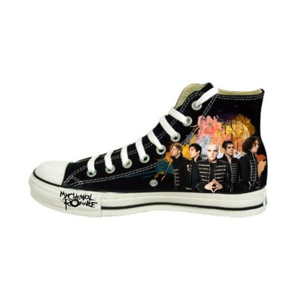 My Chemical Romance Themed Converse ❤ liked on Polyvore featuring shoes, mcr, band merch, converse, footwear, converse footwear, christmas shoes et converse shoes