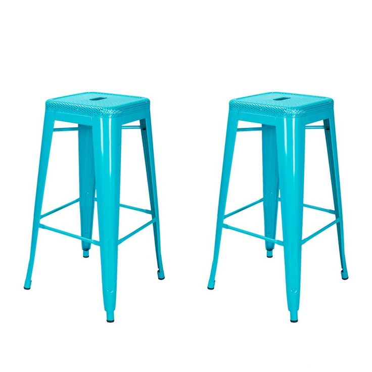 Adeco Blue 30 Inch Metal Bar Stools (Set Of 2) [CH0154 3]