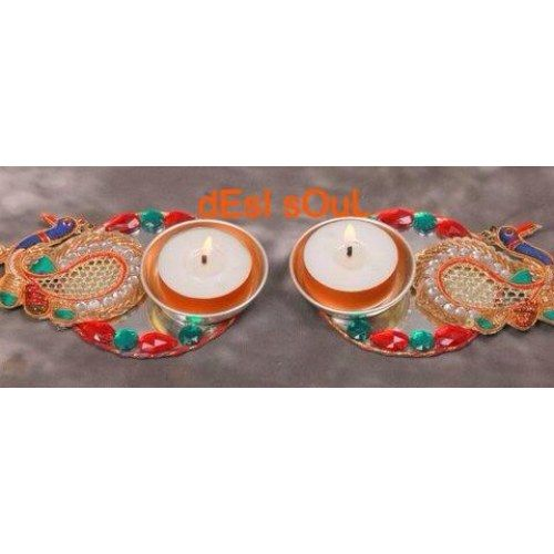 Peacock Shape Diya red/green - Online Shopping for Diyas and Lights by MEERA JEWELZ