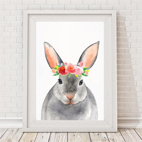 Bunny Flower Crown Print