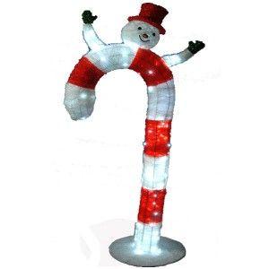 Φωτιζόμενο Μπαστούνι  210cm λευκό κόκκινο με χιονάνθρωπο
