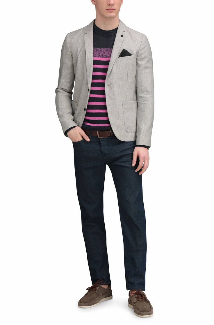 Striped slim-fit knitted sweater in linen: 'Krew' Pink from BOSS Orange for Men for £69.00 in the official HUGO BOSS Online Store free shipping