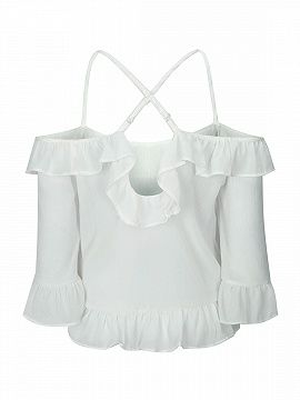 Shop Blanca del hombro volante Cami from choies.com .Free shipping Worldwide.$10.9