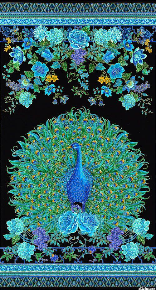 "Enchanted Plume - Peacock Portrait - Turquoise - 24"" x 44"" PANEL"