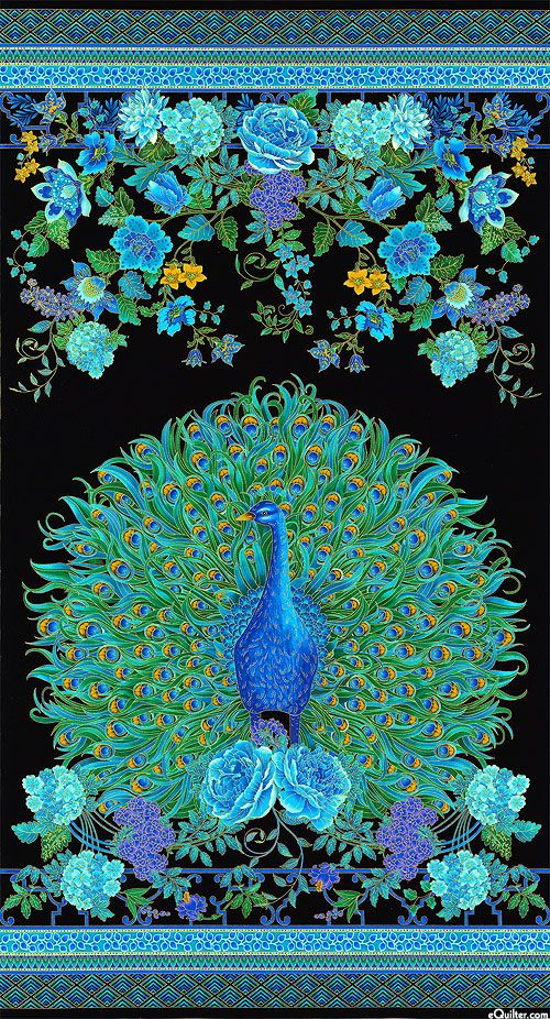 "Enchanted Plume - Peacock Portrait - 24"" x 44"" PANEL - Quilt Fabrics from www.eQuilter.com"