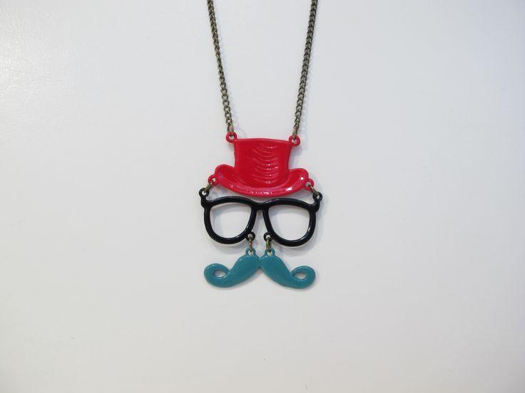 Moustache face necklace