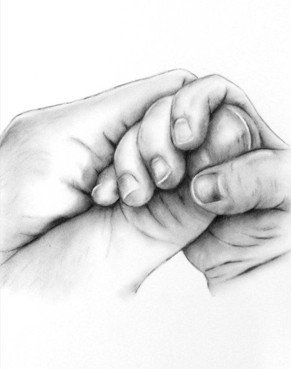 "Custom Charcoal Drawing from your photo, 8""x10"" Charcoal sketch, Baby Hand, Nursery  Art, Charcoal Art"