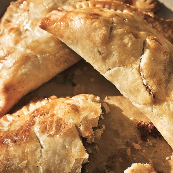 Pasties are savory turnovers.         They originated in Cornwall, England, in the         1700s. During that era, tin miners took the         portable pies into the mines for lunch.