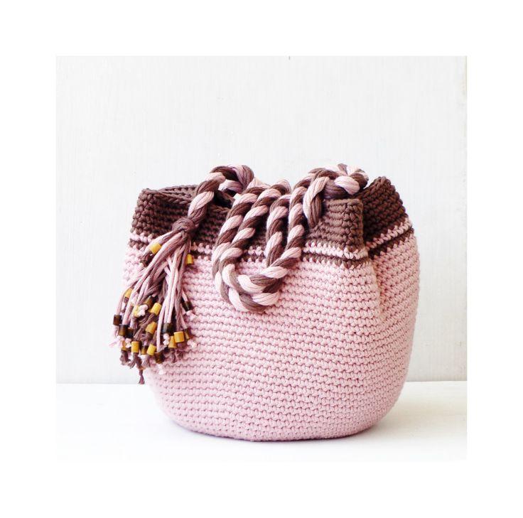Pink and brown boho purse, spring crochet bag, crochet shoulder bag, handbag tote bag, everyday hobo bag, casual purse crochet, bohemian bag by zolayka on Etsy https://www.etsy.com/listing/191079487/pink-and-brown-boho-purse-spring-crochet