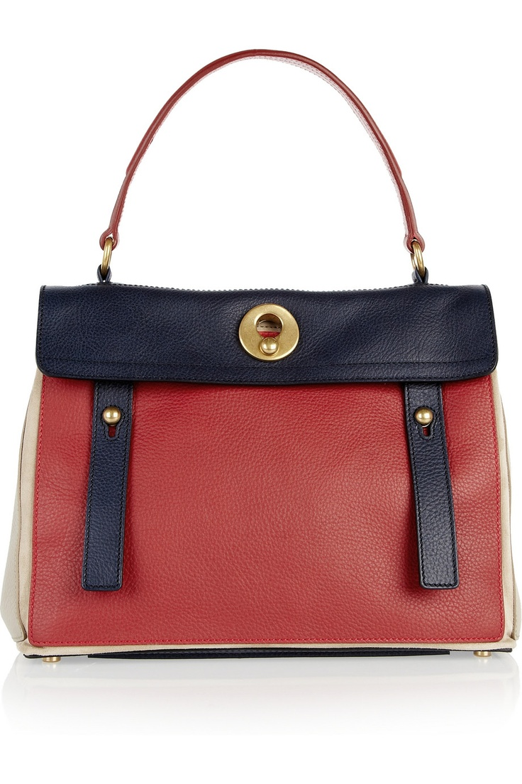 YVES SAINT LAURENT - Muse Two Small color-block leather tote