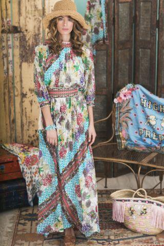 Lookbook Summer of Love Highly Preppy SS16 // Vestido largo print pañuelo