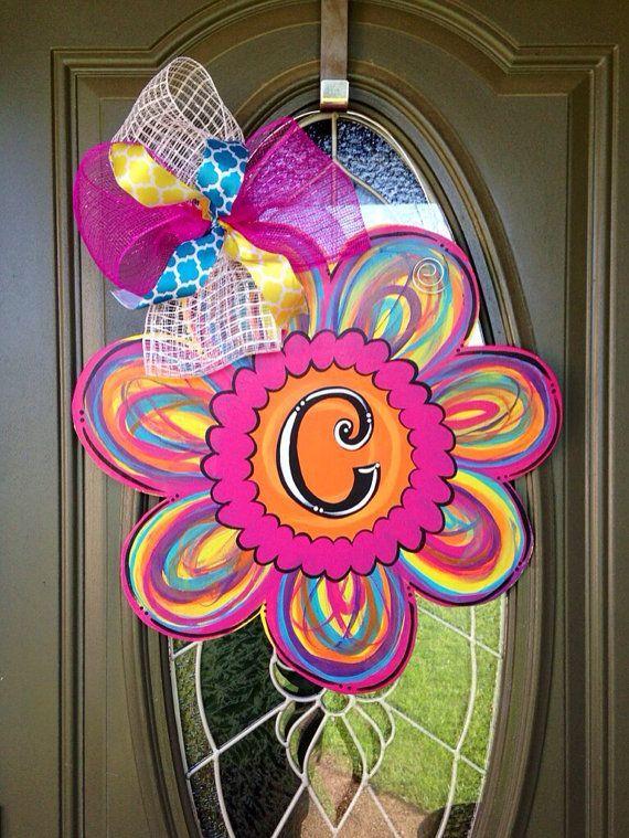 Summer Flower Initial Door Hanger by CraftyTeacher14 on Etsy - Picmia