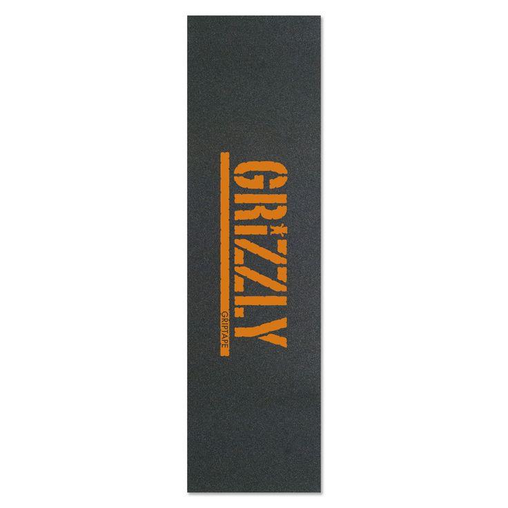 Grizzly skateboard grip tape orange stamp printing