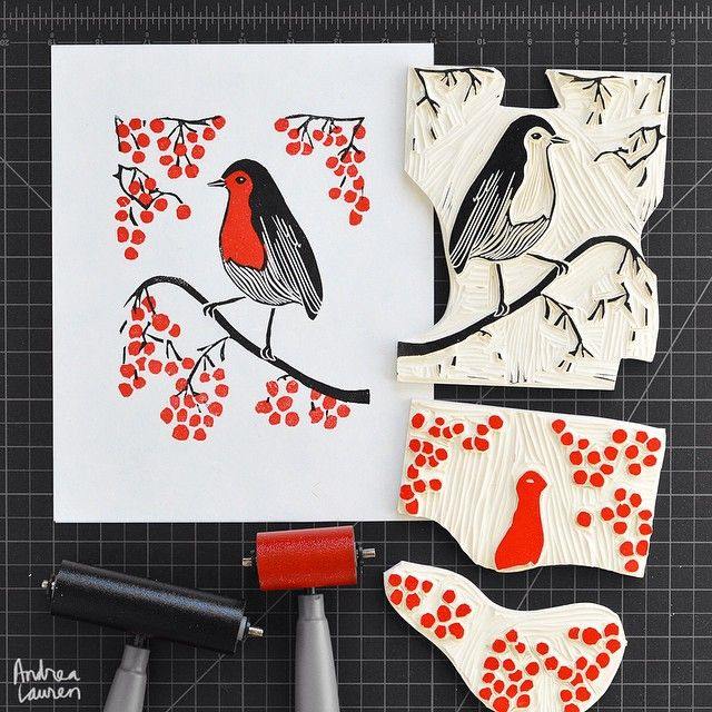 Andrea Lauren (@inkprintrepeat) | Starting the morning and week carving and printing this winter bird scene in two colors. Thanks to everyone who has stopped by my shop; it is much appreciated! | Intagme - The Best Instagram Widget