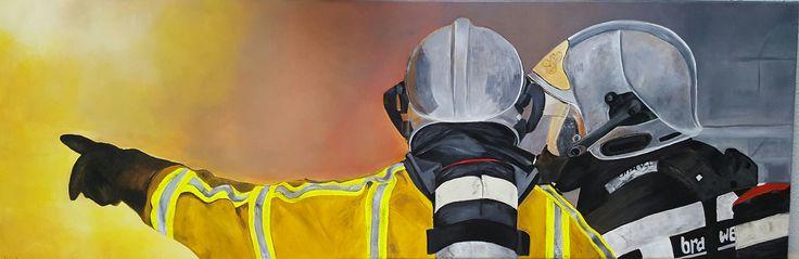 Schilderij 'Brandweer' Acrylverf  120x40cm