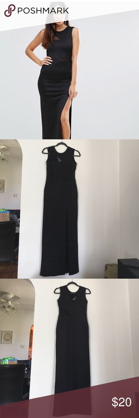 Asos Black Maxi Dress TFBC London sold by ASOS long fitted dress with mesh cut out accents and front slit. Size M. ASOS Dresses Maxi