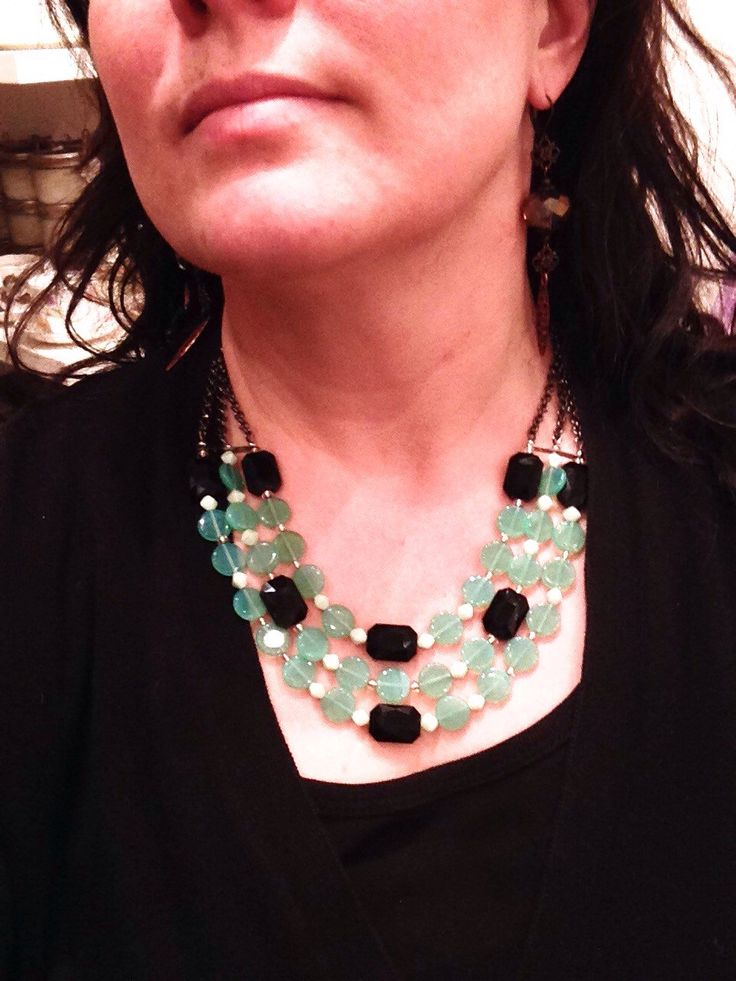 Vintage turquoise round glass beads with black crystals as gunmetal chain one of a kind necklace by cheriebeadle on Etsy https://www.etsy.com/listing/223337738/vintage-turquoise-round-glass-beads-with