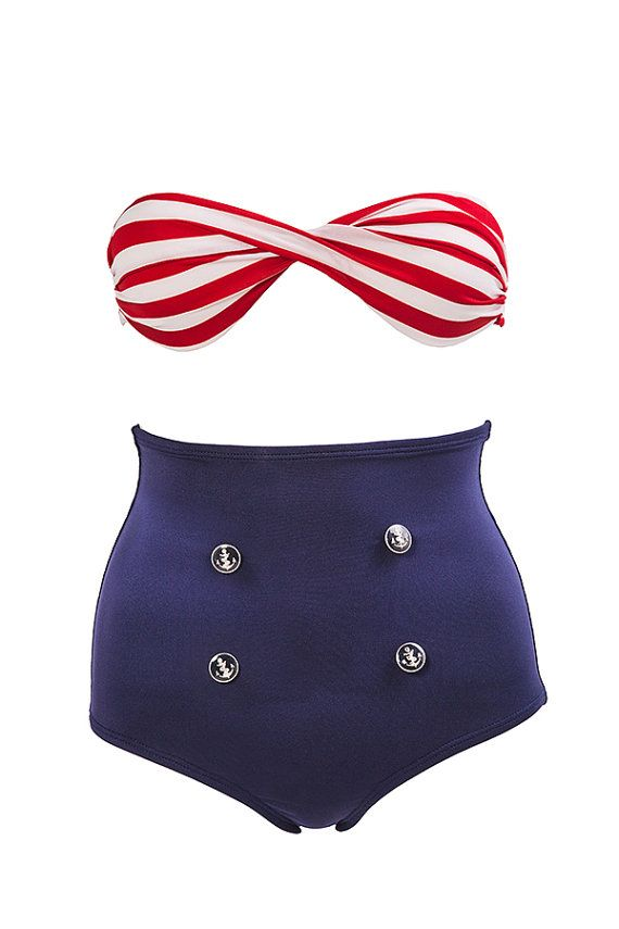 Hey, I found this really awesome Etsy listing at https://www.etsy.com/listing/206857211/sailor-bikini-set-high-waist-bikini