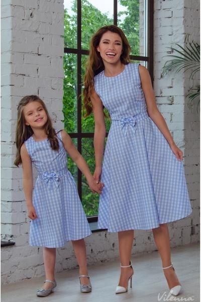 New Mother Daughter Dresses Bow Plaid Family Matching Outfits Blue O-neck Fashion Mom and Daughter Dress Women Kids Clothes